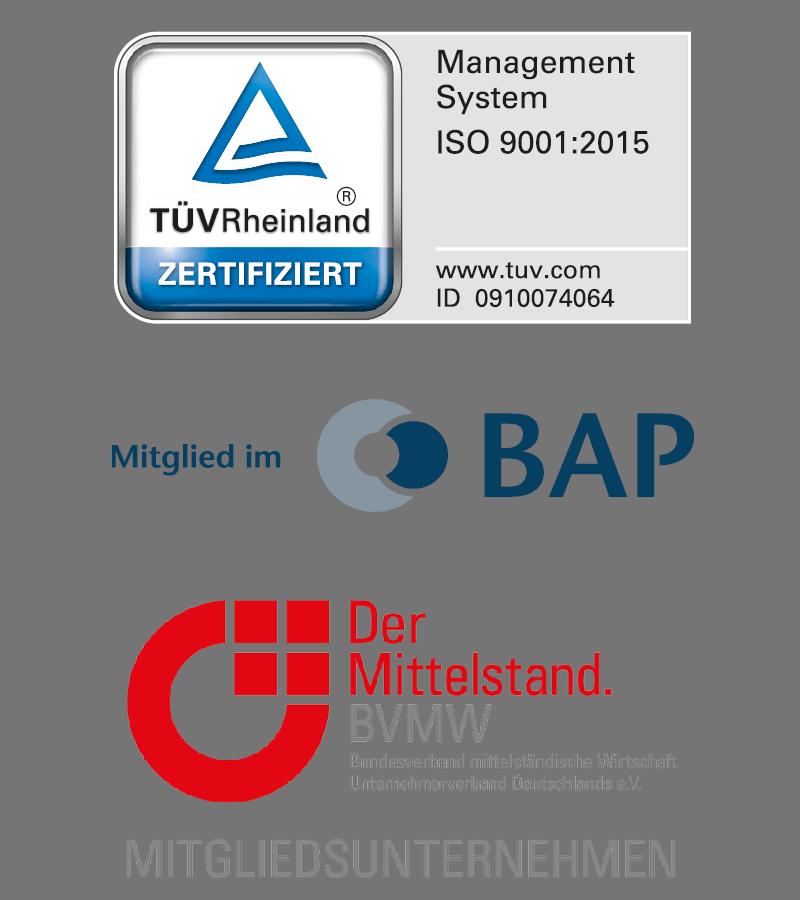 TÜV-Zertifikat ISO 9001:2015, Mitgliedschaft BAP und BVMW