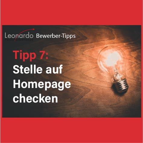 Tipp 7: Homepage checken